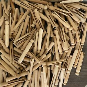 Lot of 150 Vintage Round Wood Clothespins Laundry Arts Crafts Rustic Primitive