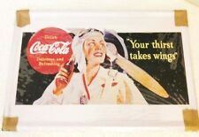 "COCA COLA ""Coke"" Your Thirst Takes Wings Tin Metal Sign Ice Man Cave Wall Hanger"