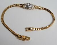 "B4 Vintage Rhinestone Solitaire Gold Tone Chain Bracelet 7"" Estate"