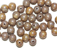 Beige Speckle Picasso Round Czech Pressed Glass Beads 7mm (pack of 40)
