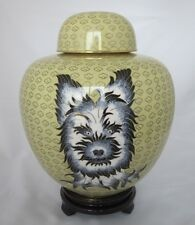 "9"" Chinese Beijing Cloisonne Cremation Black and White Yorkie - New"