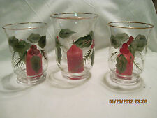 Vintage Beautiful Glass Holly Votive Candle holders.set of 3 .sold thru Avon