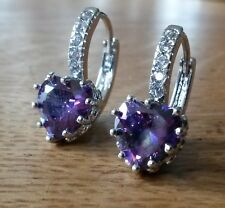 FH Plum UK amethyst heart, 14ct WHITE GOLD filled French hoop earrings BOXED