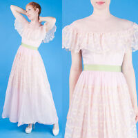 BABY PINK Vtg 50s Maxi PROM/PARTY Dress Tulle XS/S