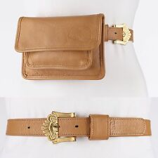 CARLOS FALCHI Camel Tan Genuine Leather Waist Belt Bag Pouch Handbag