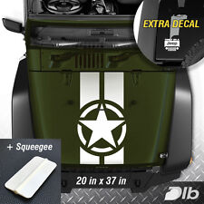 Jeep Wrangler TJ LJ JK Star Military 2 Stripes Vinyl Hood Decal Sticker Truck HQ