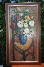 tableau huile sur carton bouquet de fleurs signé Van Den Bussche