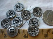 "14MM Metal Carved Flower Buttons Antique silver color 22L 9/16"" pewter shirt 18p"