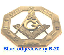 Octagon Masonic Brass Colored Cut Out Car Emblem With Masonic items Tools #B-20