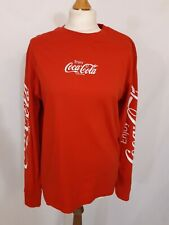 Coca Cola Oversized Long Sleeve Top - Size S - Red & White - 100% Cotton