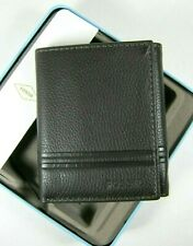 FOSSILL Mens Wilder Dark Brown Trifold Leather Wallet