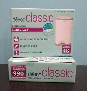 NEW Lot of 2 Dekor Classic Biodegradable Refill 2 Pack 990 Diaper Disposal x2