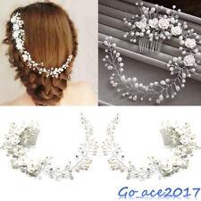 Pearl Wedding Flower Hair Crystal Bridal Pins Bridesmaid Clip Side Comb Headband