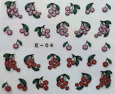 Nail Art 3D Glitter Decal Stickers Cherries E04/BLE842D