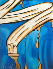 "John Matos ""Crash"" Paint Brush Hand Embellished Serigraph on Canvas"