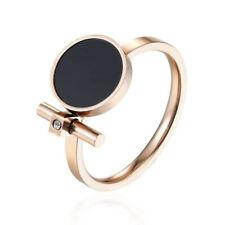 Bague émail noir et zircon acier inoxydable plaqué or bijou femme taille 54