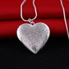 925 Sterling Silver Heart Shape Locket Necklace (Pendant + Chain) #009