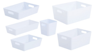 6 x Personalised White Home Storage Boxes Box Cleaning Caddy Mrs Hinch Zoflora