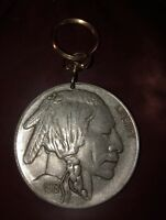 """FIVE CENT Indian head nickle KEY CHAIN 3"""" in Diameter"""