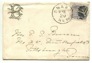 OMAHA NEB MAY 20 #114 FANCY cancel on cover to S S Brown Pittsburgh Penna.