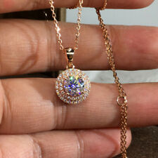Fashion 14k Rose Gold Plated Necklace Pendant Cubic Zirconia Women Wedding Gifts