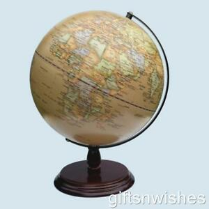 GORGEOUS Antique World Educational Globe Wood Base 20cm Home Decor Wedding Gift
