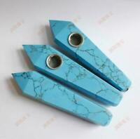 Hand Carved Artificial Blue Turquoise Jade Tobacco Pipe Bowl Filter Collectibles