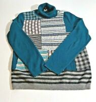 Talbots Womens Sweater Sz M Multl-Color Patchwork Front Turtle Neck Long Sleeves