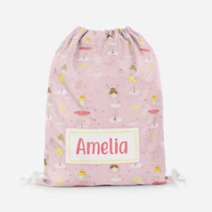 Personalised Ballerina Ballet Kids PE Swimming School Children's Drawstring Bag
