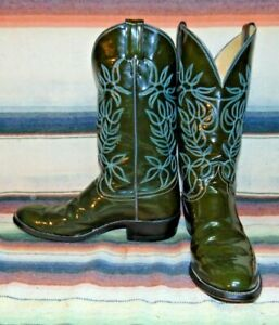 Mens Vintage Justin Green Patent Leather Cowboy Boots 10 D Excellent Used Cond