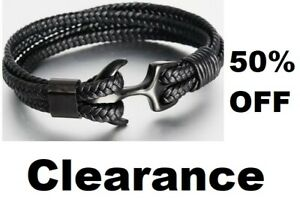 woven cord bracelet wrap wristband Stainless Steel anchor