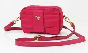 Authentic PRADA Pink Nylon Ribbon Design Shoulder Bag Purse #40473