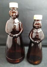 "2 Vintage Jemima Aunt Mrs Butterworth Amber Glass Syrup Bottles 8.5"" & 10"""