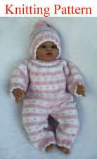 Knitting pattern for 15 - 18 inch doll all-in-one bodysuit and hat