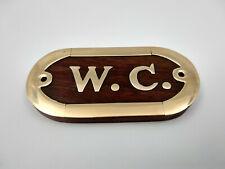 Plaque de porte bois et laiton WC longueur 10cm pour la maison,bateau