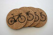 Bicycle Etched Cork Coasters Set of 4 Bike