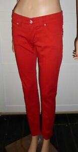 ARMANI RED SLIM FIT CROPPED JEANS W27 L28 WITH ZIP BACK POCKETS