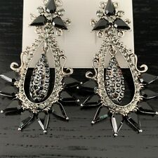 Luxury Statement Crystal Black Dangle Drop Evening Prom Party Bridal Earrings