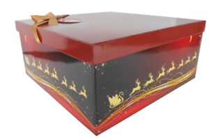 RED/GOLD SANTA REINDEER CHRISTMAS Gift Box Kit, Tissue Paper, Gift Tag, Bow