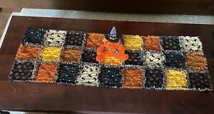 Adorable Not So Spooky Halloween/Fall Rag Quilt Table Runner