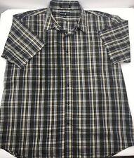 Beverly Hills Polo Club Mens 4XLB Big Tall Shirt Short Sleeve Brown Blue Plaid