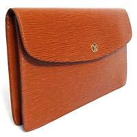 Auth Vintage Louis Vuitton Brown Epi Pochette Montaigne 27 M52653 Clutch Bag Pur