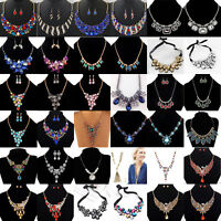Vintage Charm Crystal Pendant Chain Choker Chunky Statement Bib Necklace Jewelry