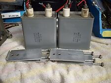 2ea GE HIGH Voltage Capacitor 4uF 2000 VDC -Includes clamps-----shelf --------D