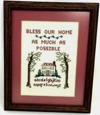 VINTAGE 1985 AMERICAN SAMPLER  Rustic Wood Frame Country Cottage Wall Decor 11x9