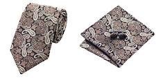 Brown Novelty 100% Silk Classic Mens Necktie Tie Hanky Cufflink Set NT272