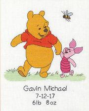 Cross Stitch Kit ~ Disney Winnie the Pooh & Piglet Birth Record #70-35357