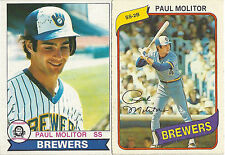 1979 + 1980 PAUL MOLITOR O-Pee-Chee Brewers #8 #211 English + French 2 Card Lot