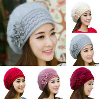 EG_ Women's Ladies Knitted Beret Beanie Hat Fur Winter Warm Crochet Ski Cap Exot