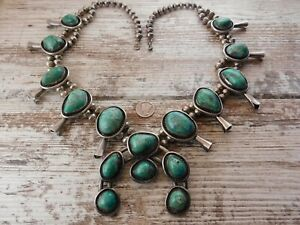 Vtg Old Pawn TURQUOISE Sterling Silver NAVAJO SQUASH BLOSSOM Bead NECKLACE 280g